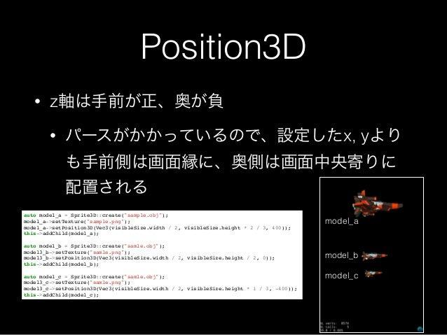 "Position3D • z軸は手前が正、奥が負 • パースがかかっているので、設定したx, yより も手前側は画面縁に、奥側は画面中央寄りに 配置される auto model_a = Sprite3D::create(""sample.obj""..."