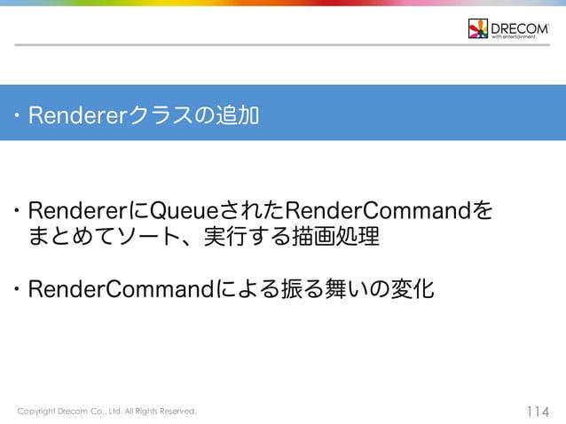 Copyright Drecom Co., Ltd. All Rights Reserved. 114 ・Rendererクラスの追加 ・RendererにQueueされたRenderCommandを まとめてソート、実行する描画処理 ・Ren...