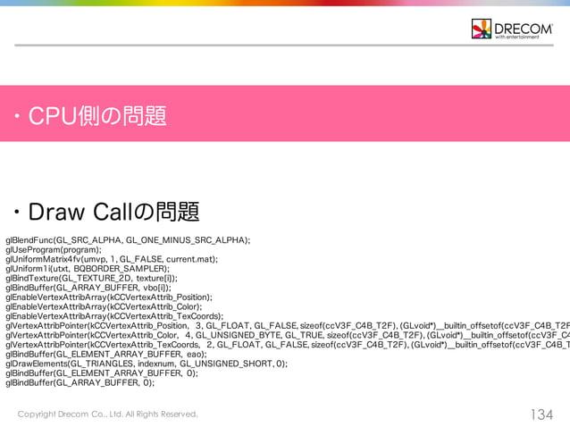 Copyright Drecom Co., Ltd. All Rights Reserved. 134 ・CPU側の問題 ・Draw Callの問題 glBlendFunc(GL_SRC_ALPHA, GL_ONE_MINUS_SRC_ALPH...