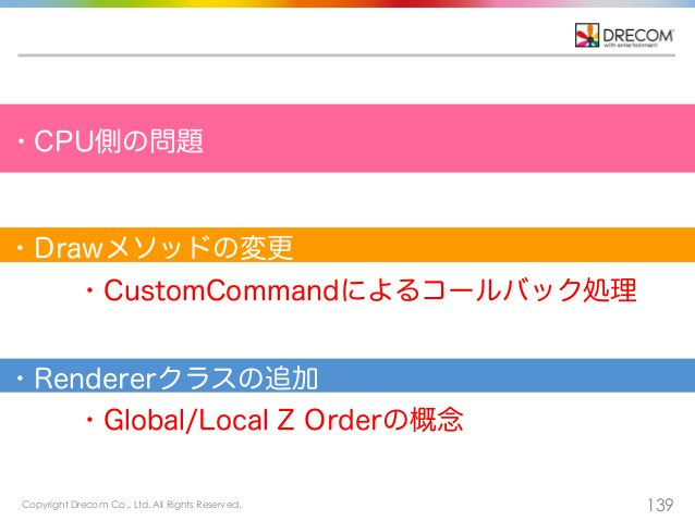 Copyright Drecom Co., Ltd. All Rights Reserved. 139 ・CPU側の問題 ・CustomCommandによるコールバック処理 ・Global/Local Z Orderの概念 ・Drawメソッドの...