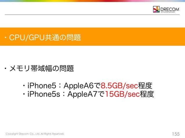 Copyright Drecom Co., Ltd. All Rights Reserved. 155 ・CPU/GPU共通の問題 ・メモリ帯域幅の問題 ・iPhone5:AppleA6で8.5GB/sec程度 ・iPhone5s:AppleA...