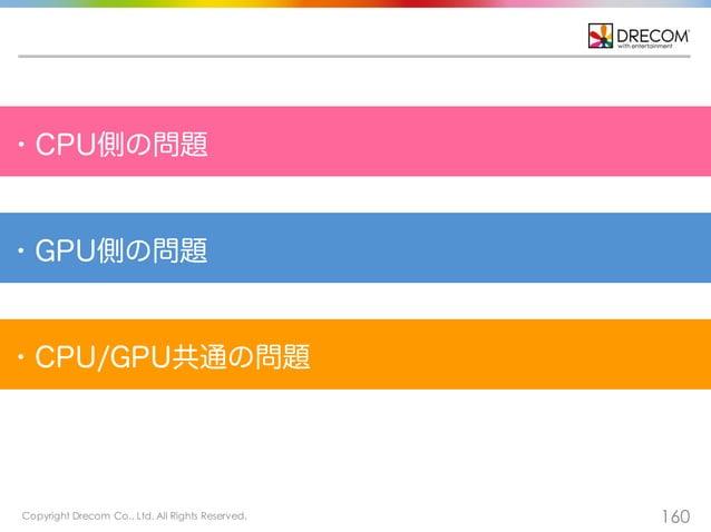 Copyright Drecom Co., Ltd. All Rights Reserved. 160 ・CPU側の問題 ・GPU側の問題 ・CPU/GPU共通の問題
