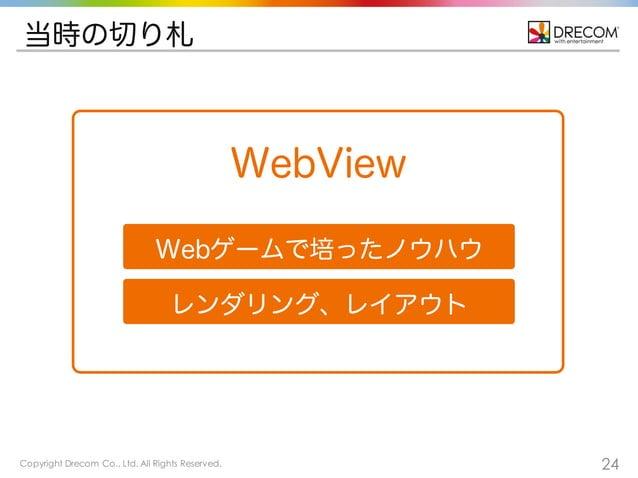 Copyright Drecom Co., Ltd. All Rights Reserved. 24 当時の切り札 WebView Webゲームで培ったノウハウ レンダリング、レイアウト