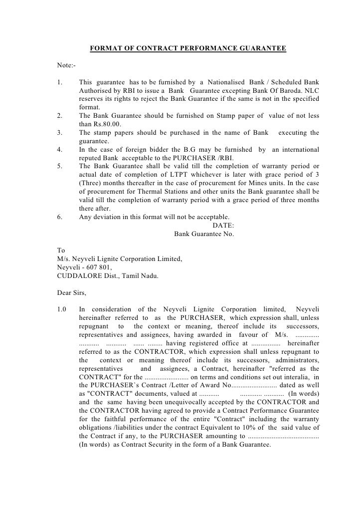 FORMAT OF CONTRACT PERFORMANCE GUARANTEE  Note:-  1.       This guarantee has to be furnished by a Nationalised Bank / Sch...