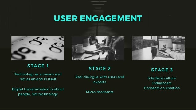 USER ENGAGEMENT STAGE 2 Real dialogue with users and experts Micro-moments STAGE 1 Technology as a means and not as an end...