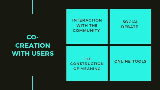 CO- CREATION WITH USERS ONLINE TOOLS SOCIAL DEBATE THE CONSTRUCTION OF MEANING INTERACTION WITH THE COMMUNITY
