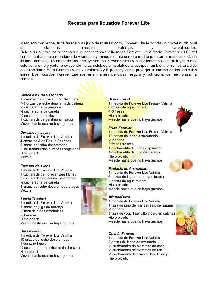 Recetas para licuados Forever LiteMezclado con leche, fruta fresca o su jugo de fruta favorito, Forever Lite le brinda un ...