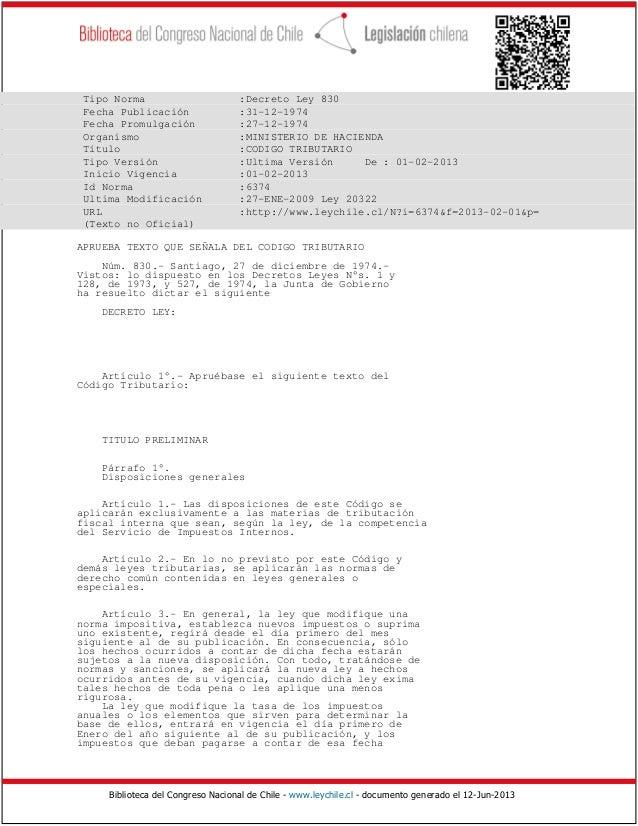 Biblioteca del Congreso Nacional de Chile - www.leychile.cl - documento generado el 12-Jun-2013 Tipo Norma :Decreto Ley 83...