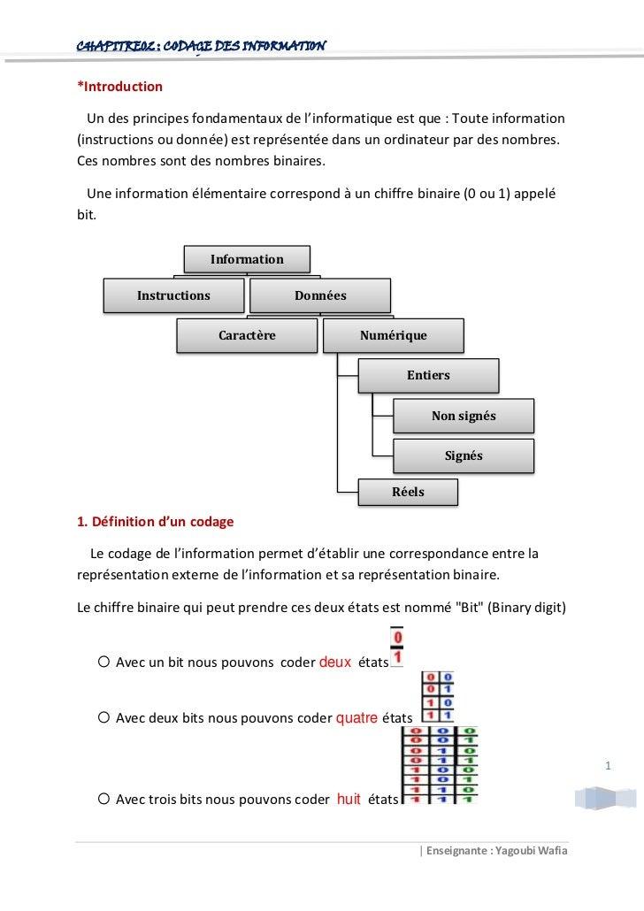 CHAPITRE02 : CODAGE DES INFORMATION*Introduction  Un des principes fondamentaux de l'informatique est que : Toute informat...
