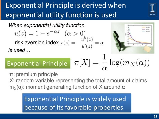 Exponential Principle is derived whenexponential utility function is usedWhen exponential utility function   risk aversion...