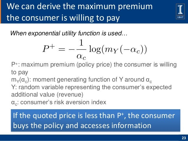 We can derive the maximum premiumthe consumer is willing to payWhen exponential utility function is used… P+: maximum prem...
