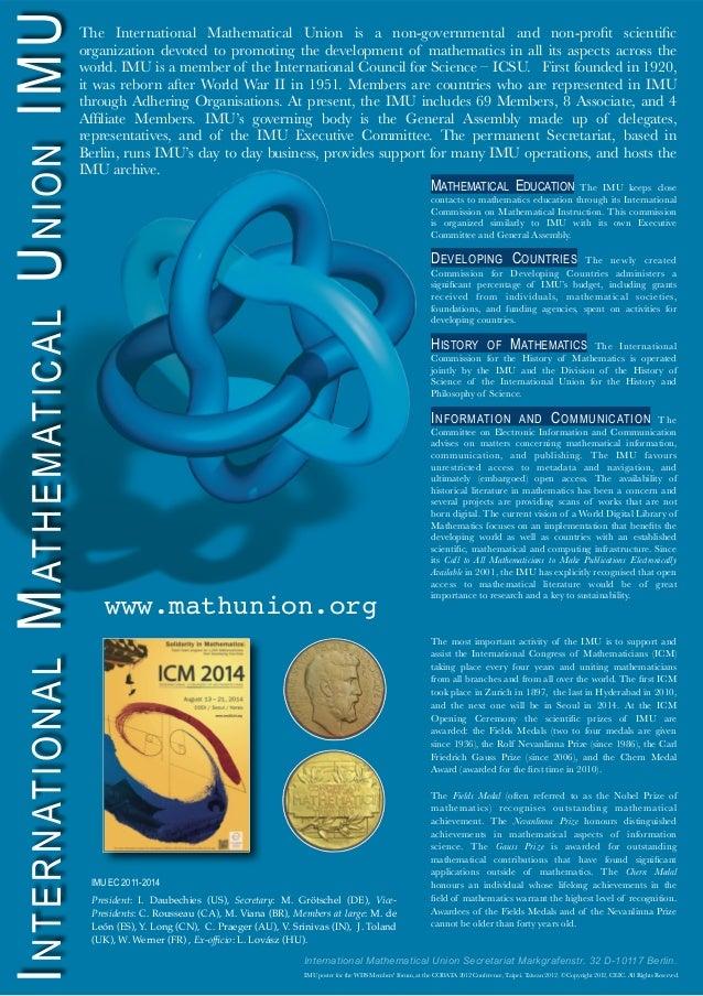 INTERNATIONALMATHEMATICALUNIONIMUThe International Mathematical Union is a non-governmental and non-profit scientificorganiz...