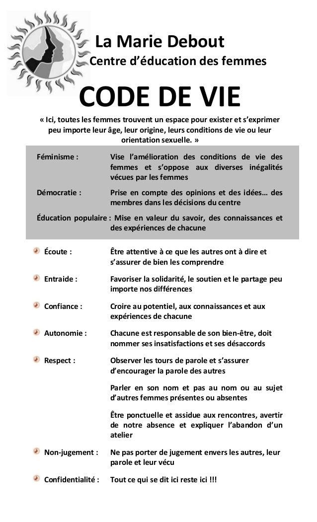 La Marie Debout                Centre d'éducation des femmes               CODE DE VIE« Ici, toutes les femmes trouvent un...