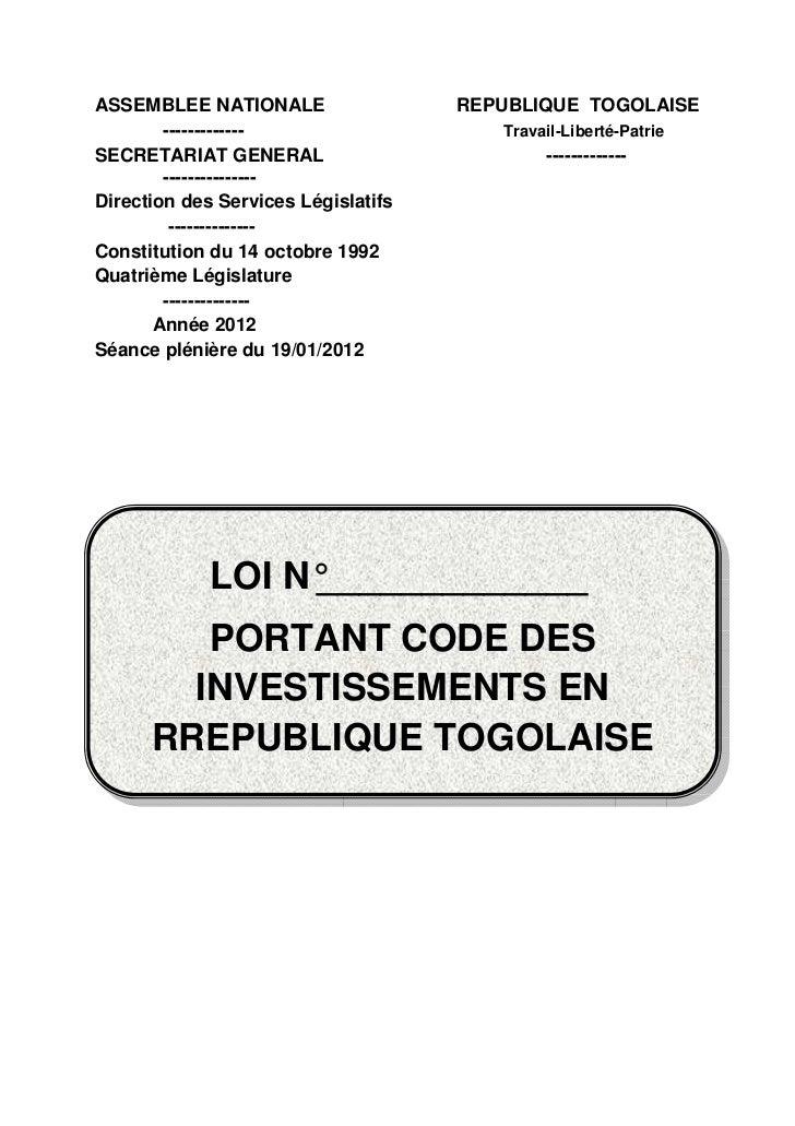ASSEMBLEE NATIONALE                  REPUBLIQUE TOGOLAISE        -------------                   Travail-Liberté-PatrieSEC...