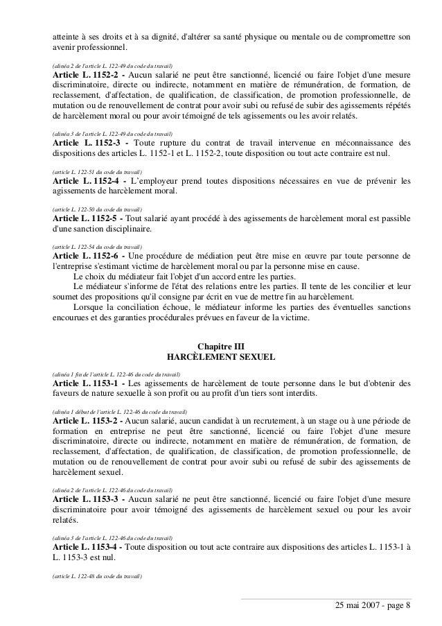 Code du tavail 2008 nouveau fec juill 2008 - Peut on porter plainte pour harcelement moral ...