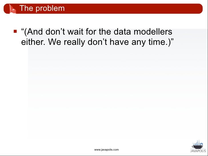 The problem       Domain model with 500+ classes       Each class: 1 interface, 2 implementations       Relations betwee...