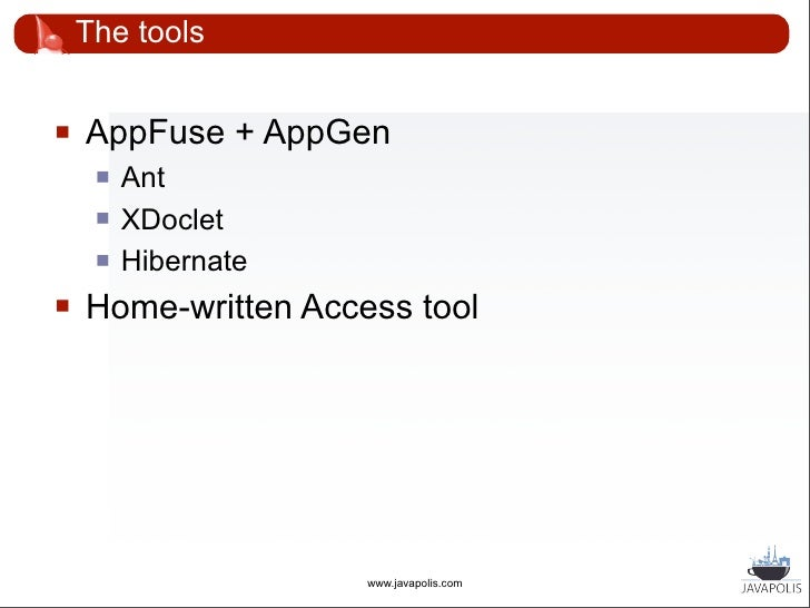 """The tools       XDoclet: extended with custom annotations            @gui hidden=""""false""""                 @relation manda..."""