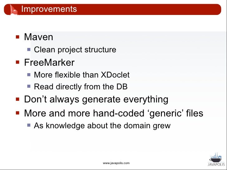 The end situation                                             .hbm.xml   DB Tables                   Domain DB            ...