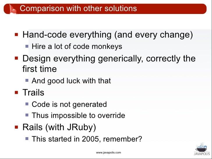 Conclusion      Code generation can make you flexible    and responsive. Do try this at home.              (Or at work)   ...