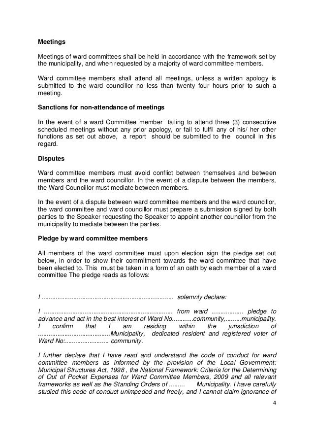 Ward Committee Code Of Conduct