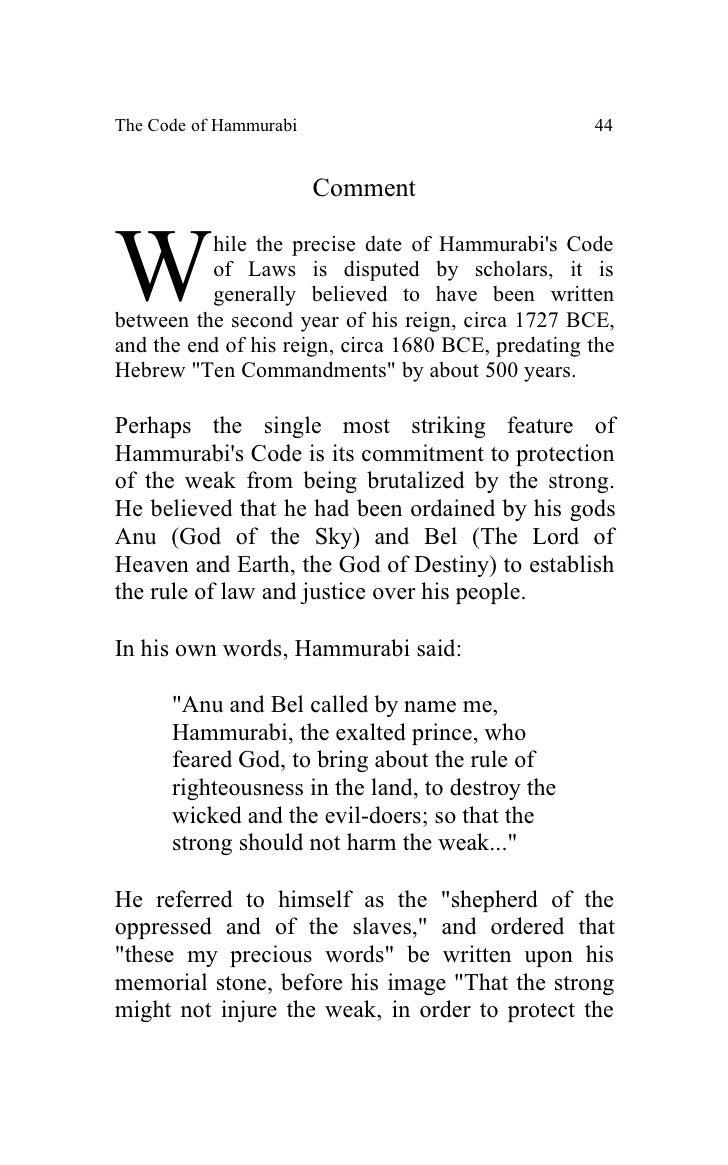 the similarities between the hammurabis law code and the ten commandments Unlike hammurabi's code the ten commandments list the ten commandments influence on criminal law scott between the old code- but the similarities.