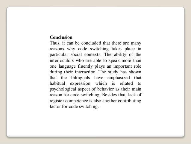 Code switching-reason