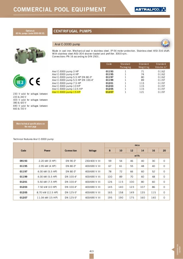 413 COMMERCIAL POOL EQUIPMENT Aral C-3000 pump Made in cast iron. Mechanical seal in stainless steel. IP-54 motor protecti...