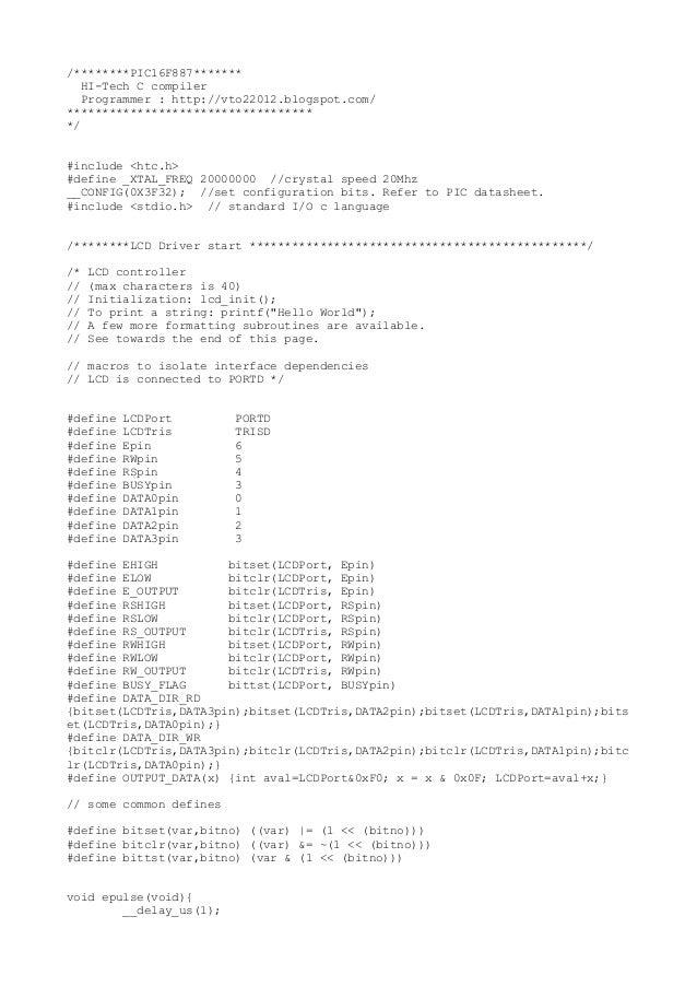 /********PIC16F887*******   HI-Tech C compiler   Programmer : http://vto22012.blogspot.com/*******************************...