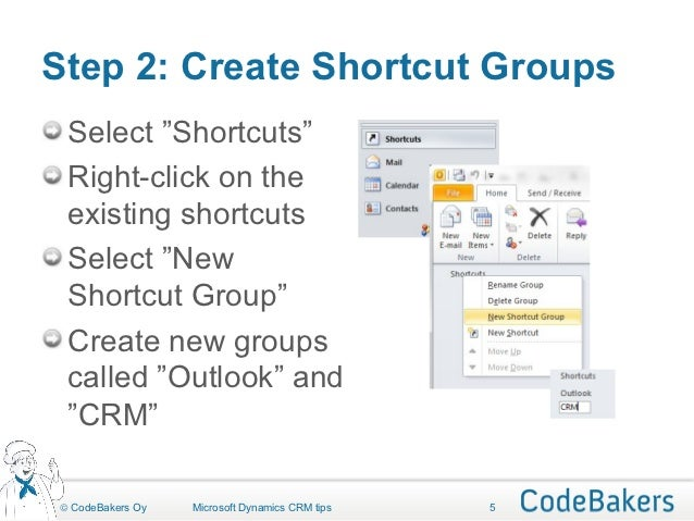 how to create shortcut in outlook