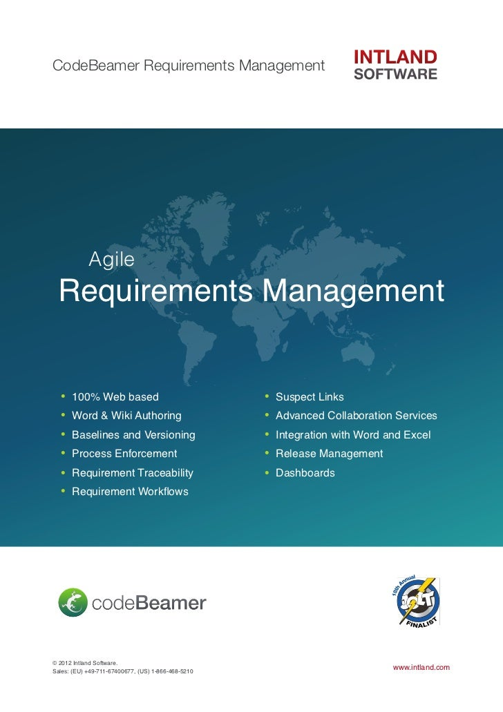 CodeBeamer Requirements Management  !         Agile  Requirements Management  •   100% Web based                          ...