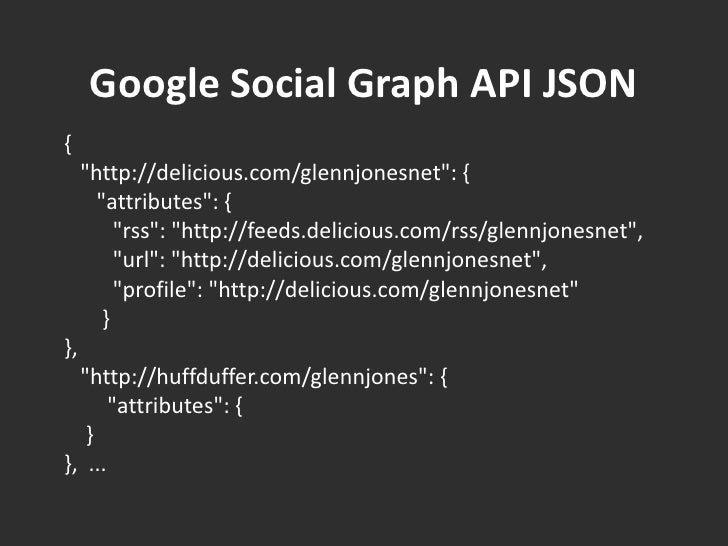 "Google Social Graph API JSON<br />{ <br />   ""http://delicious.com/glennjonesnet"": { <br />      ""attribute..."