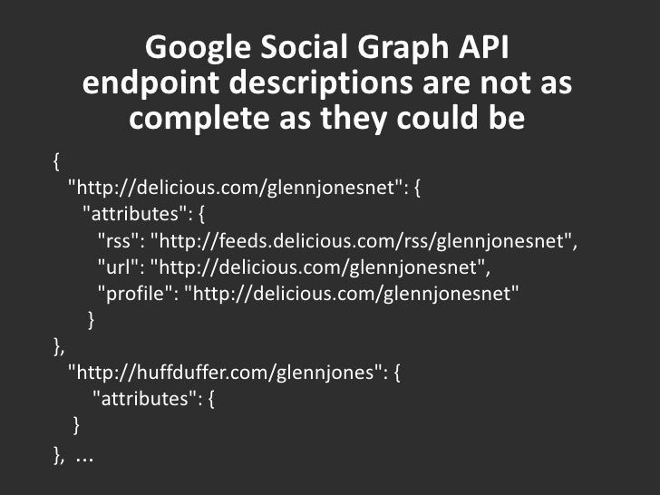 """Google Social Graph API endpoint descriptions are not as complete as they could be<br />{ <br />   """"http://delicious...."""