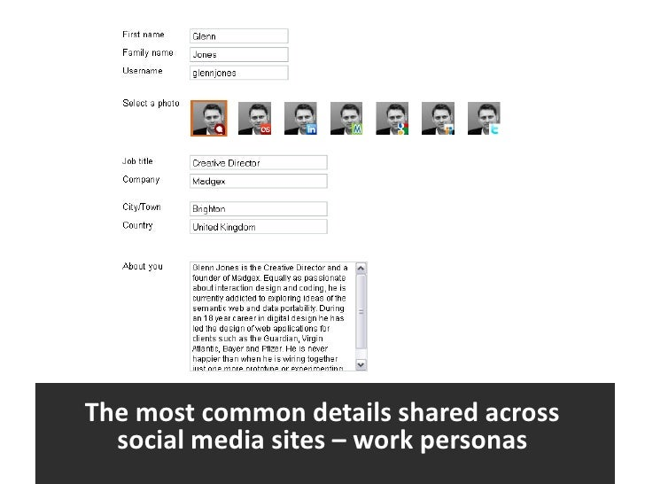 The most common details shared across <br />social media sites – work personas<br />