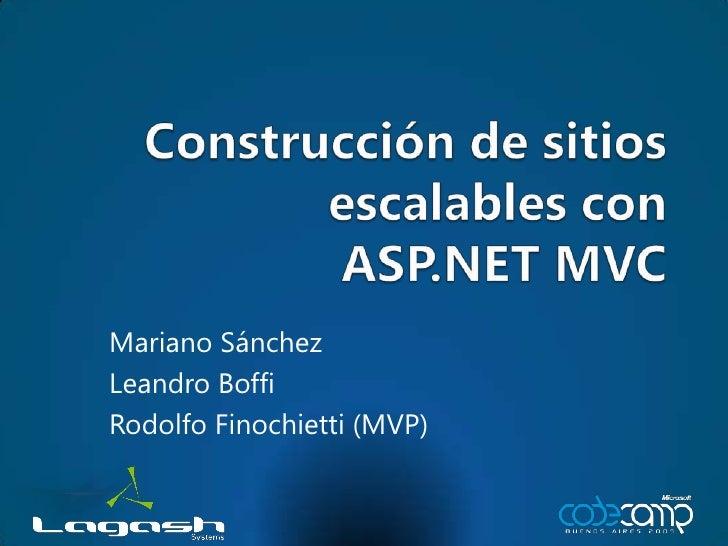 Construcción de sitios escalables conASP.NET MVC<br />Mariano Sánchez<br />Leandro Boffi<br />Rodolfo Finochietti (MVP)<br />
