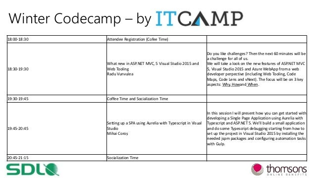Winter Codecamp – by 18:00-18:30 Attendee Registration (Cofee Time) 18:30-19:30 What new in ASP.NET MVC, 5 Visual Studio 2...