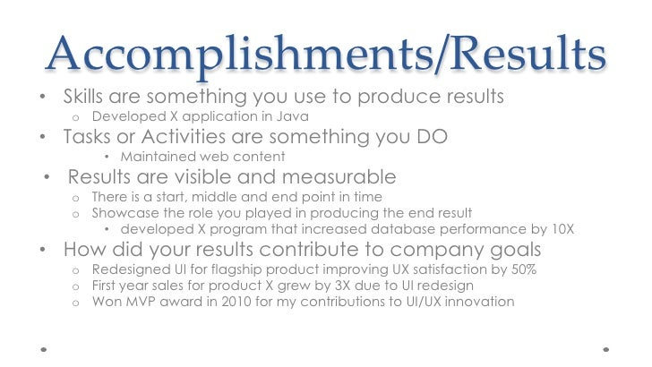 Accomplishments/Resultsu003cbr ...  Accomplishments For Resume