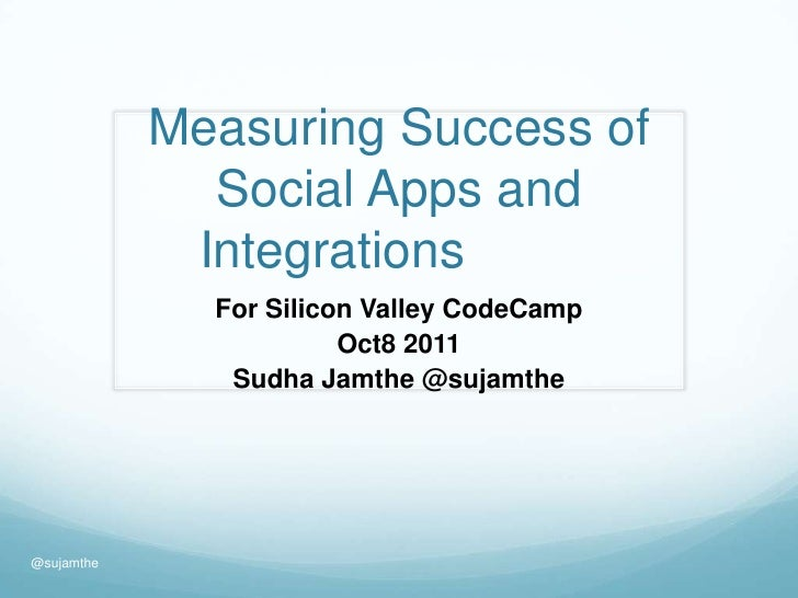 Measuring Success of Social Apps and Integrations		<br />For Silicon Valley CodeCamp<br />Oct8 2011<br />Sudha Jamthe @suj...