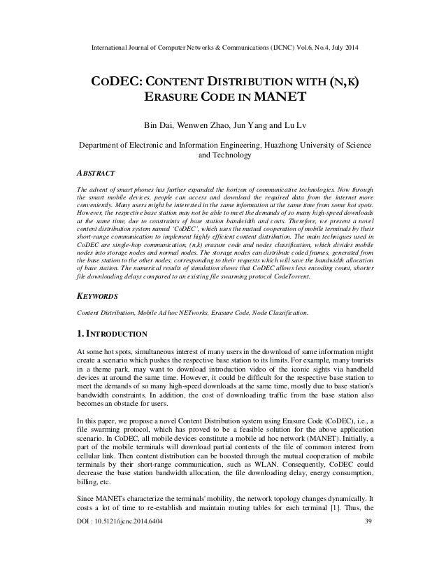International Journal of Computer Networks & Communications (IJCNC) Vol.6, No.4, July 2014 DOI : 10.5121/ijcnc.2014.6404 3...