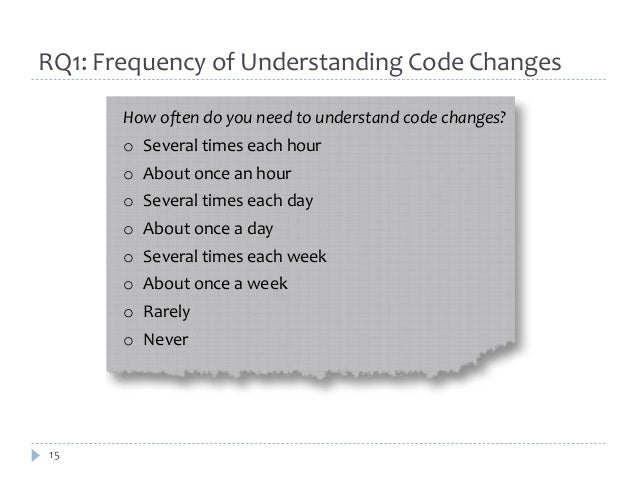RQ1: Frequency of Understanding Code Changes  15  How often do you need to understand code changes?  o Several times each ...