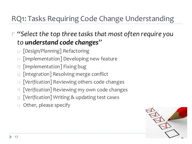 """RQ1: Tasks Requiring Code Change Understanding  """"Select the top three tasks that most often require you  to understand cod..."""
