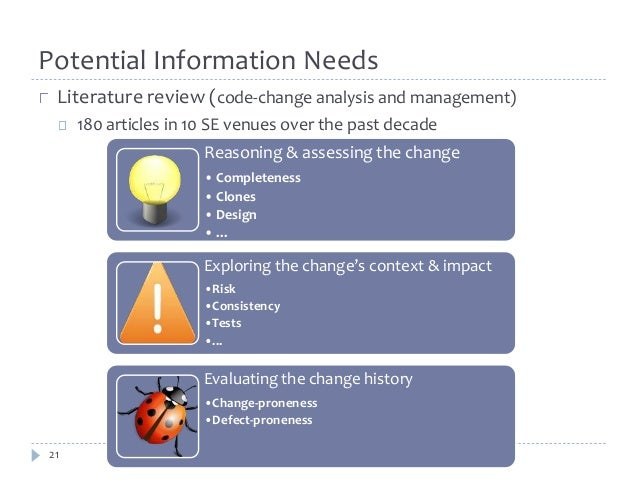 Potential Information Needs  Literature review (code-change analysis and management)  21  180 articles in 10 SE venues ove...