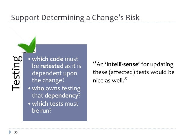 Support Determining a Change's Risk  Testing  35  •which code must  be retested as it is  dependent upon  the change?  •wh...