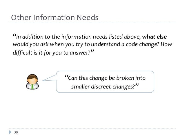 """Other Information Needs  """"In addition to the information needs listed above, what else  would you ask when you try to unde..."""