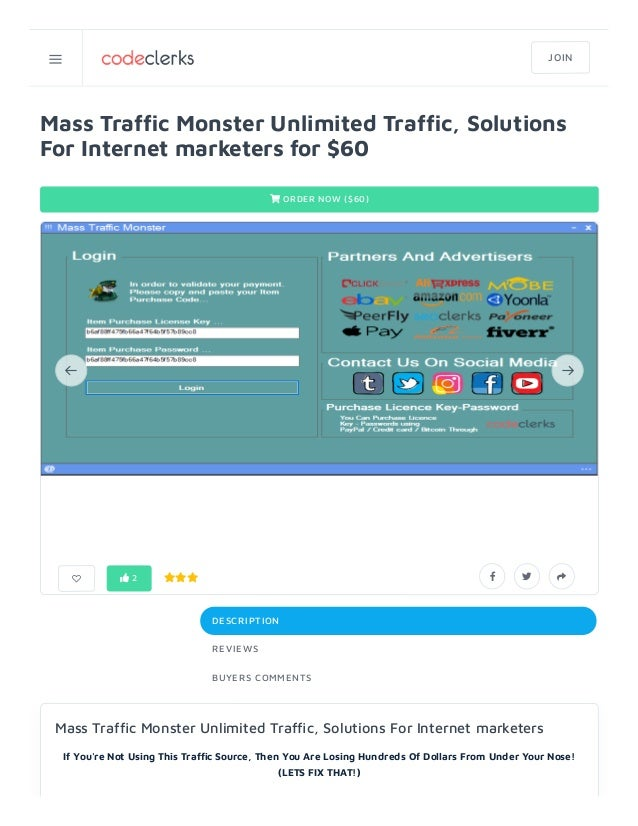 Mass Traf c Monster Unlimited Traf c, Solutions For Internet marketers for $60  ORDER NOW ($60) DESCRIPTION REVIEWS BUYER...