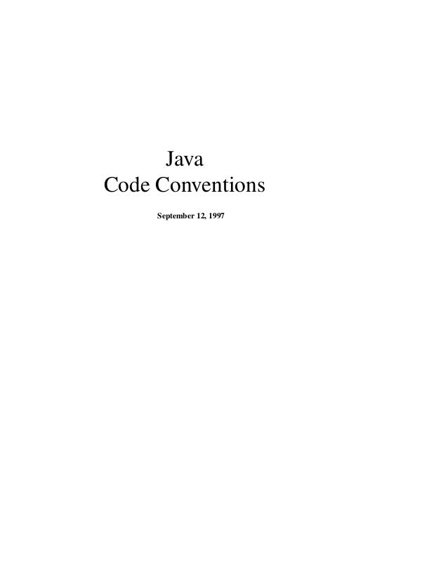 JavaCode Conventions     September 12, 1997