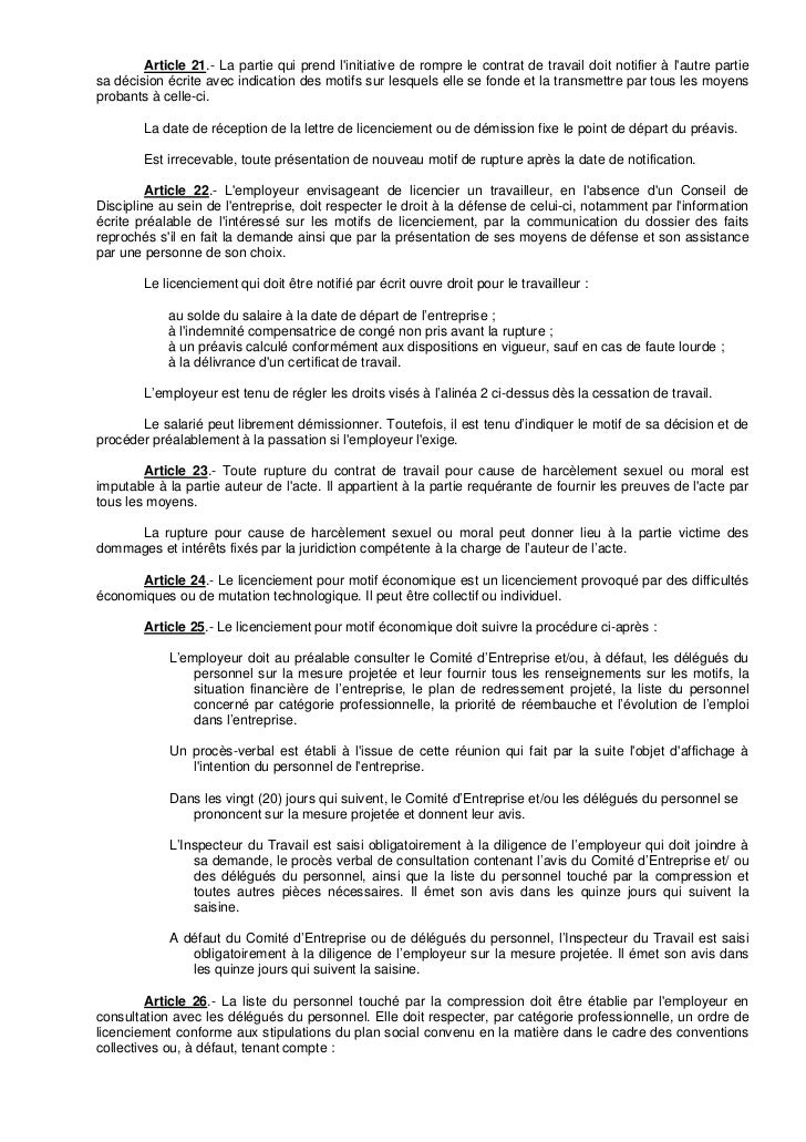 Code Du Travail Notification De Licenciement