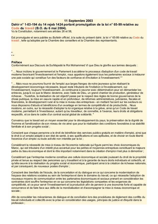 11 Septembre 2003 Dahir n° 1-03-194 du 14 rejeb 1424 portant promulgation de la loi n° 65-99 relative au Code du travail (...