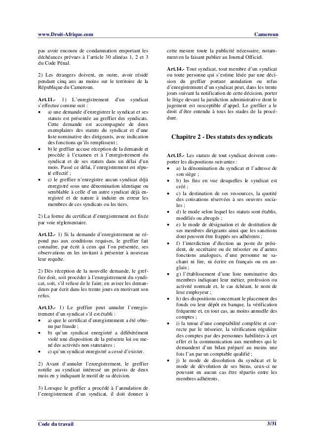 Code Du Travail Cameroun