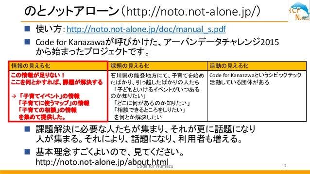のとノットアローン(http://noto.not-alone.jp/)  使い方:http://noto.not-alone.jp/doc/manual_s.pdf  Code for Kanazawaが呼びかけた、アーバンデータチャレン...