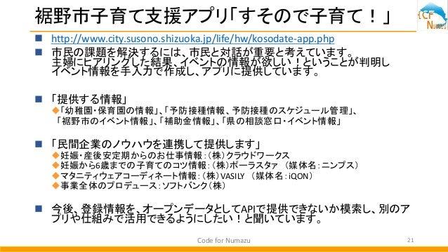 裾野市子育て支援アプリ「すそので子育て!」  http://www.city.susono.shizuoka.jp/life/hw/kosodate-app.php  市民の課題を解決するには、市民と対話が重要と考えています。 主婦にヒアリ...